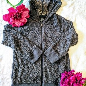 Justice see through lace hoodie zipper 12 petite